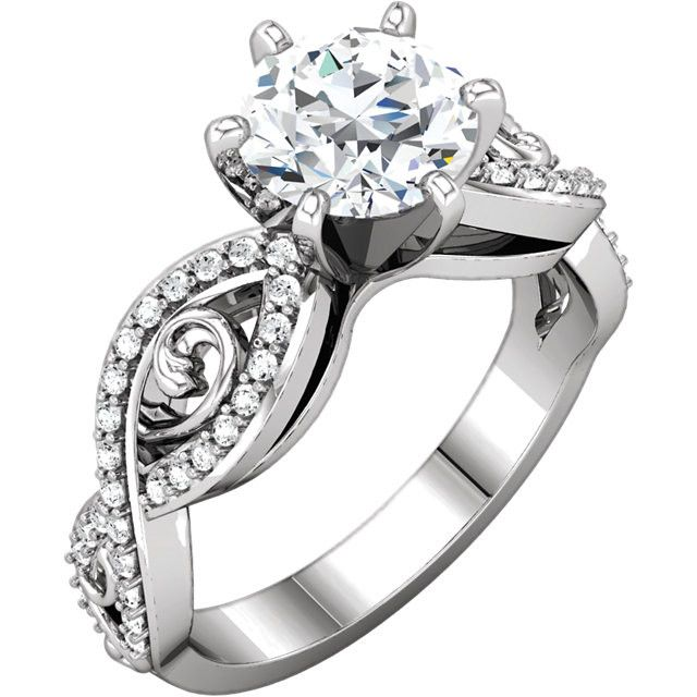 Solitaire with accents 2.11 carat round brilliant diamonds ring white gold 14K