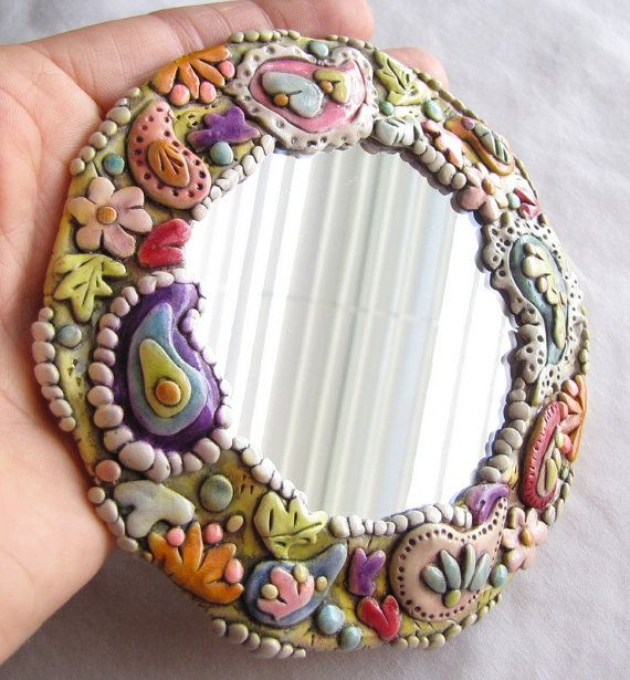 Paisley Framed Mini Mirror Wall Art Polymer Clay Etsy Clay Wall Art Polymer Clay Polymer Clay Ornaments