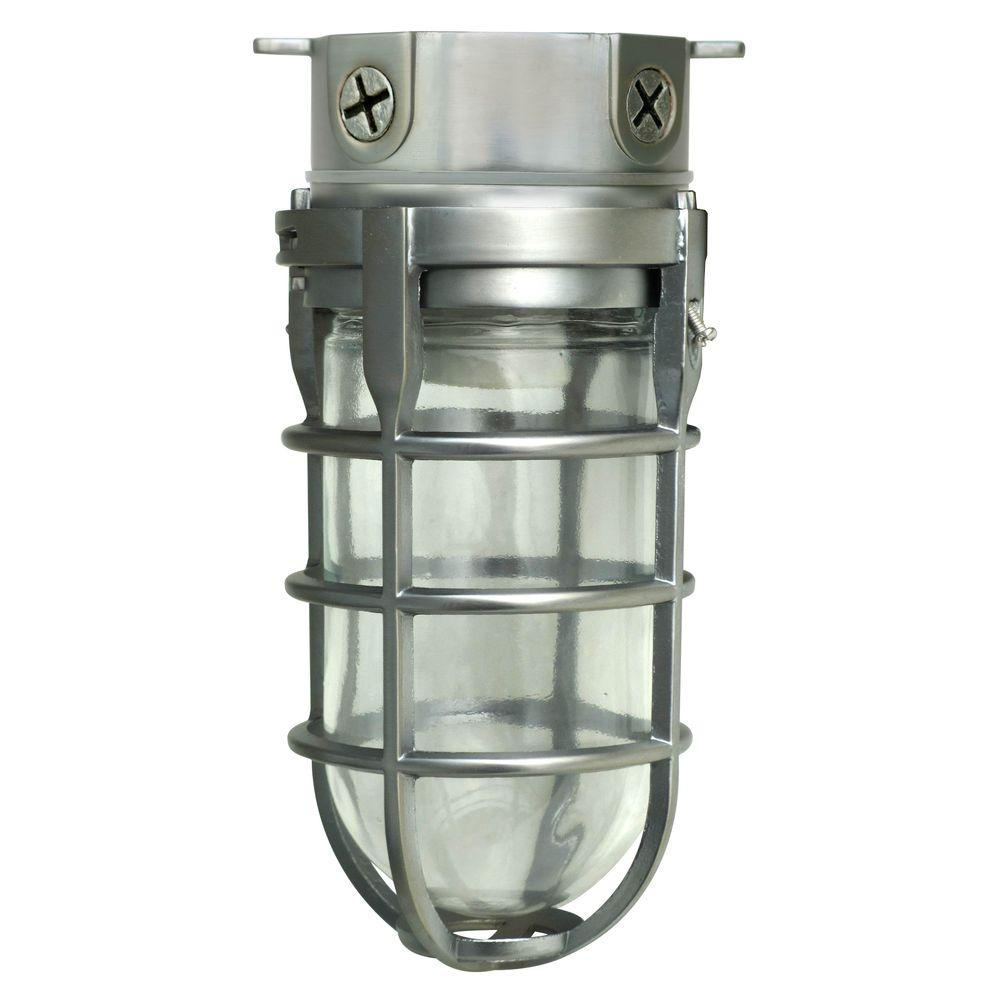 Southwire Industrial 1 Light Brushed Steel Outdoor Weather Tight Flushmount Light Fixture L1706bs The Home Depot Industrial Lighting Bulkhead Light Industrial Livingroom