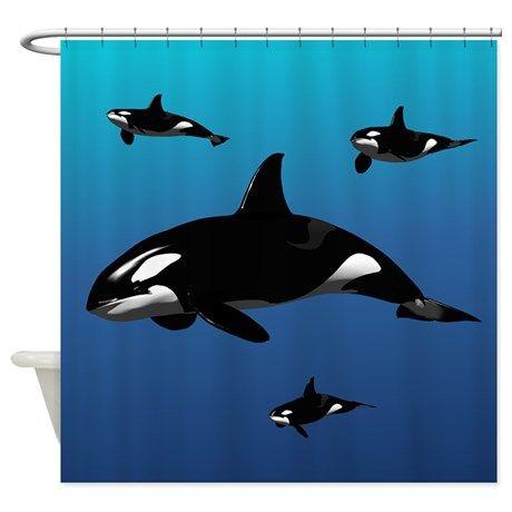 Orca Shower Curtain On CafePress