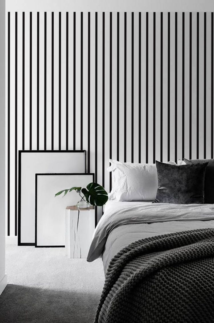 Peel And Stick Stripes Wallpaper Black And White Wall Paper Etsy Striped Wallpaper Striped Wallpaper Black And White Black And White Wallpaper