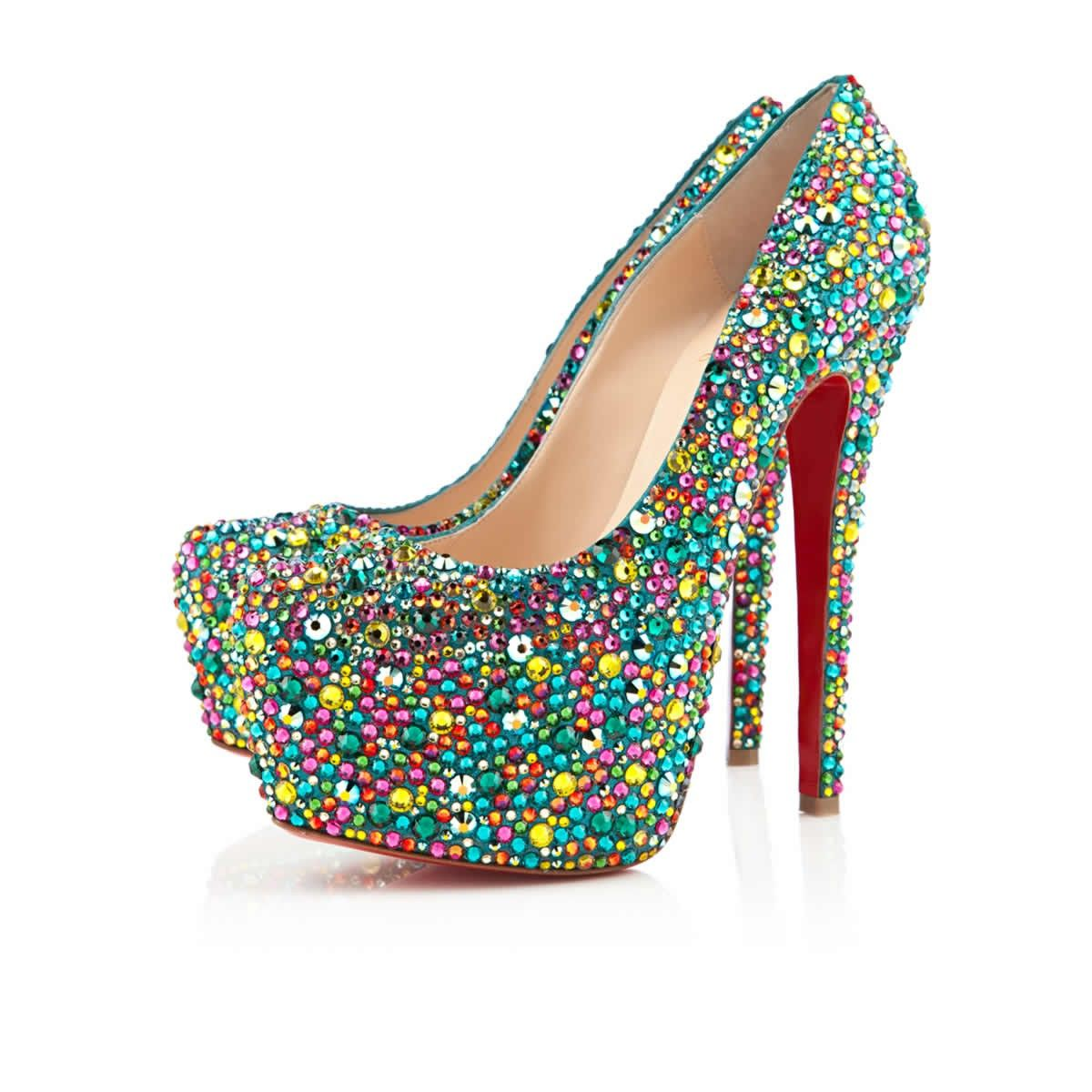 Christian Louboutin Highness Strass 160Mm Peep Toe Pumps Multicolor Online