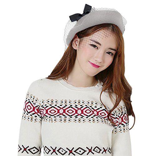 66666fad Fakeface Women Vintage French Style Beret Hat Fascinator Derby Hat Winter Wool  Artist Plain Beanie Cap Fancy Dress Costume Headwear Best Halloween Costumes  ...