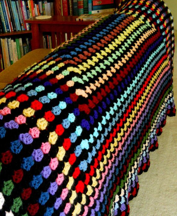 Crochet Blanket Granny Square Stained Glass Afghan