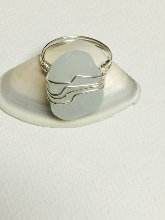 Sea Foam Sea Glass Silver Wire Wrapped Ring | Schmuck