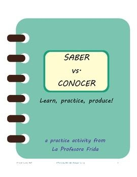 no prep just print and go a ready to use saber vs conocer worksheet with teacher key included. Black Bedroom Furniture Sets. Home Design Ideas
