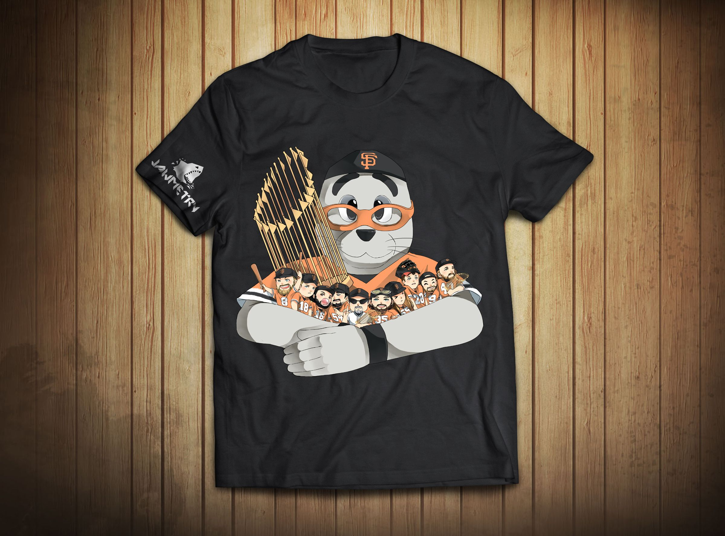SF Giants have been the heart of the city of San Francisco so we decided to make a design that features the fan favorites on the team with Lou the Seal!