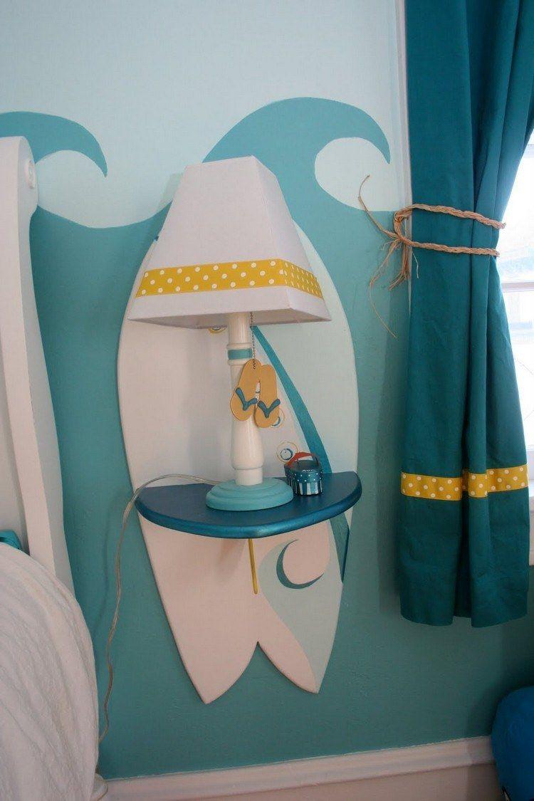 wandgestaltung im jugendzimmer - wellenmuster und surfbrett deko, Schlafzimmer design
