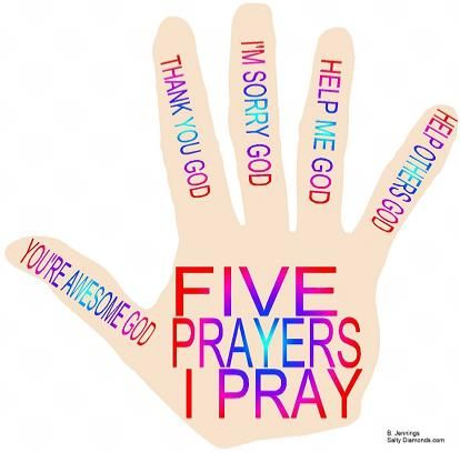PRAYER HAND GAMES Five Prayers I Pray, worded for preschoolers