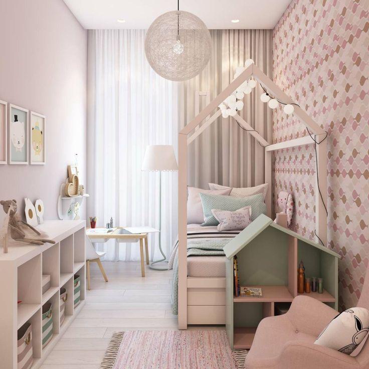 Schmales Kinderzimmer für Mädchen mit attraktiver Beleuchtung Da Lia #kinderzimmermädchen