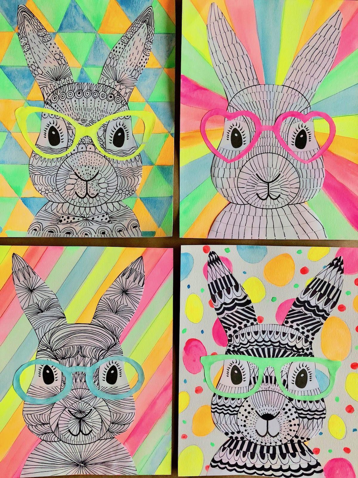 Funky Easter Bunnies Zentangle Drawing Artforkids
