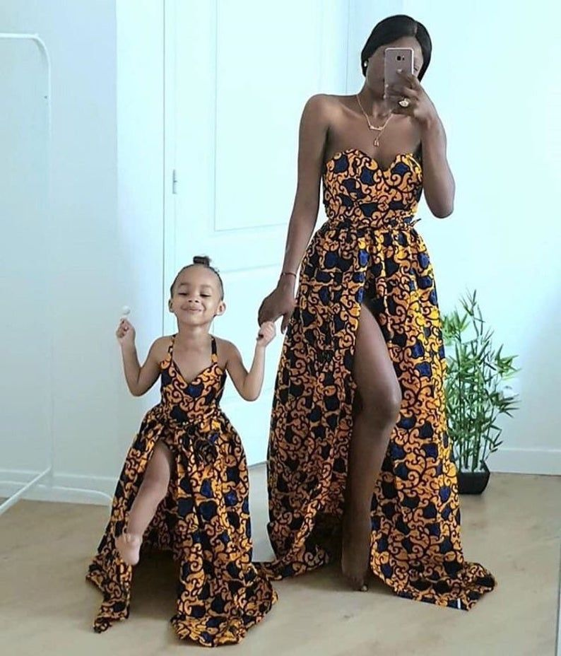 African maxi dress for Mother and daughter, Africa