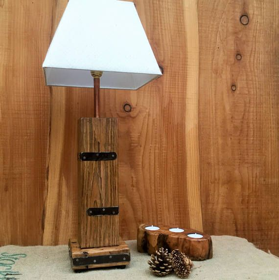 Rustic Wood And Steel Lamp Base Made From Reclaimed Wood And
