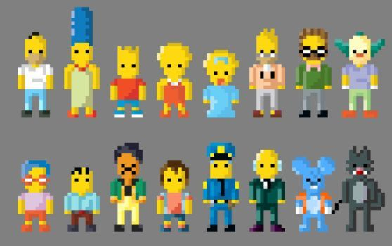 The Simpsons Characters 8 Bit By Lustriouscharming The