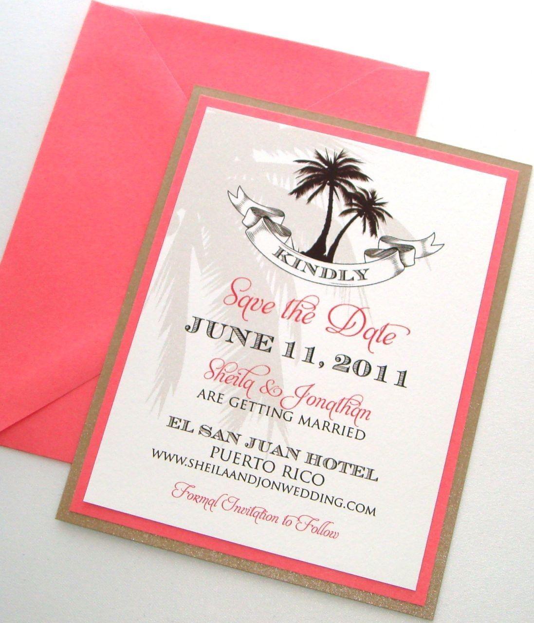 Sheila Destination Beach Wedding Save the Date Sample - Brown, Tan ...