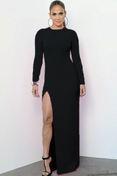 f8176bdc356 Black Long-sleeve Maxi Dress with Side Split US  6.98
