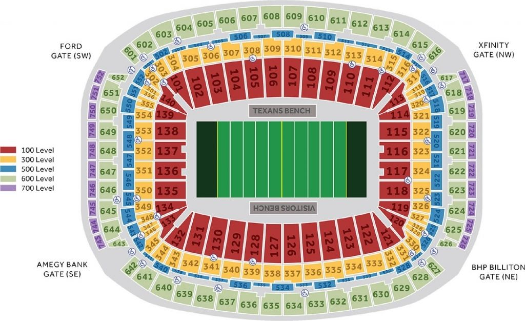 Nrg Stadium Seating Chart Seating Charts Nrg Stadium Houston Texans