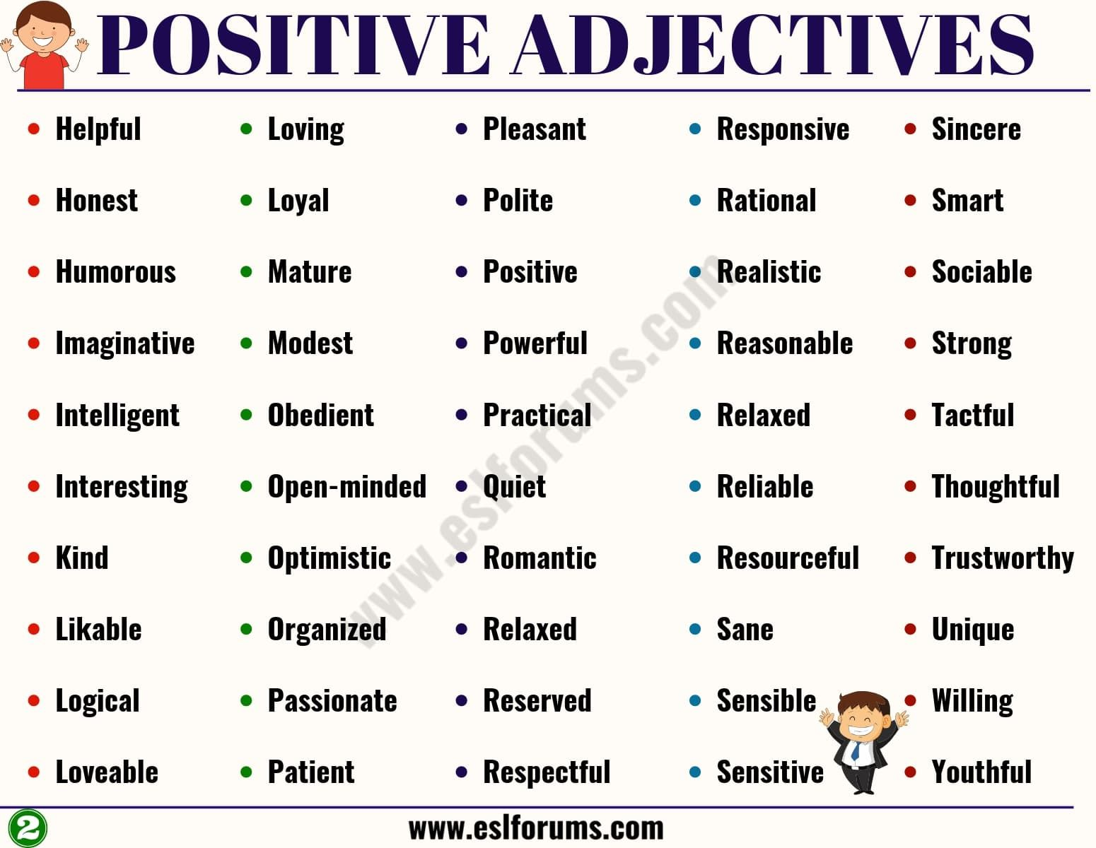 Positive Adjectives List Of 100 Important Positive Adjectives