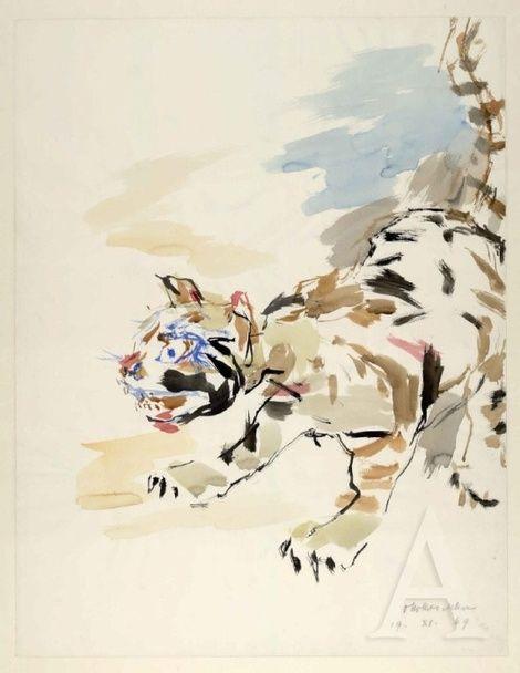 Oskar Kokoschka,  Tiger Cat on ArtStack #oskar-kokoschka #art