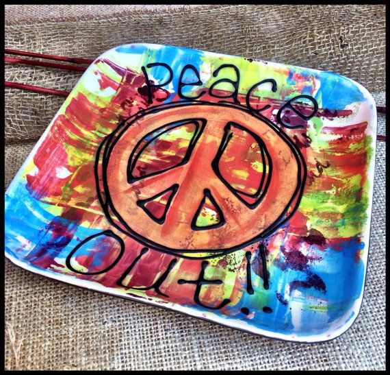 Peace Out Handpainted Ceramic Plate By Thepeculiarpalette