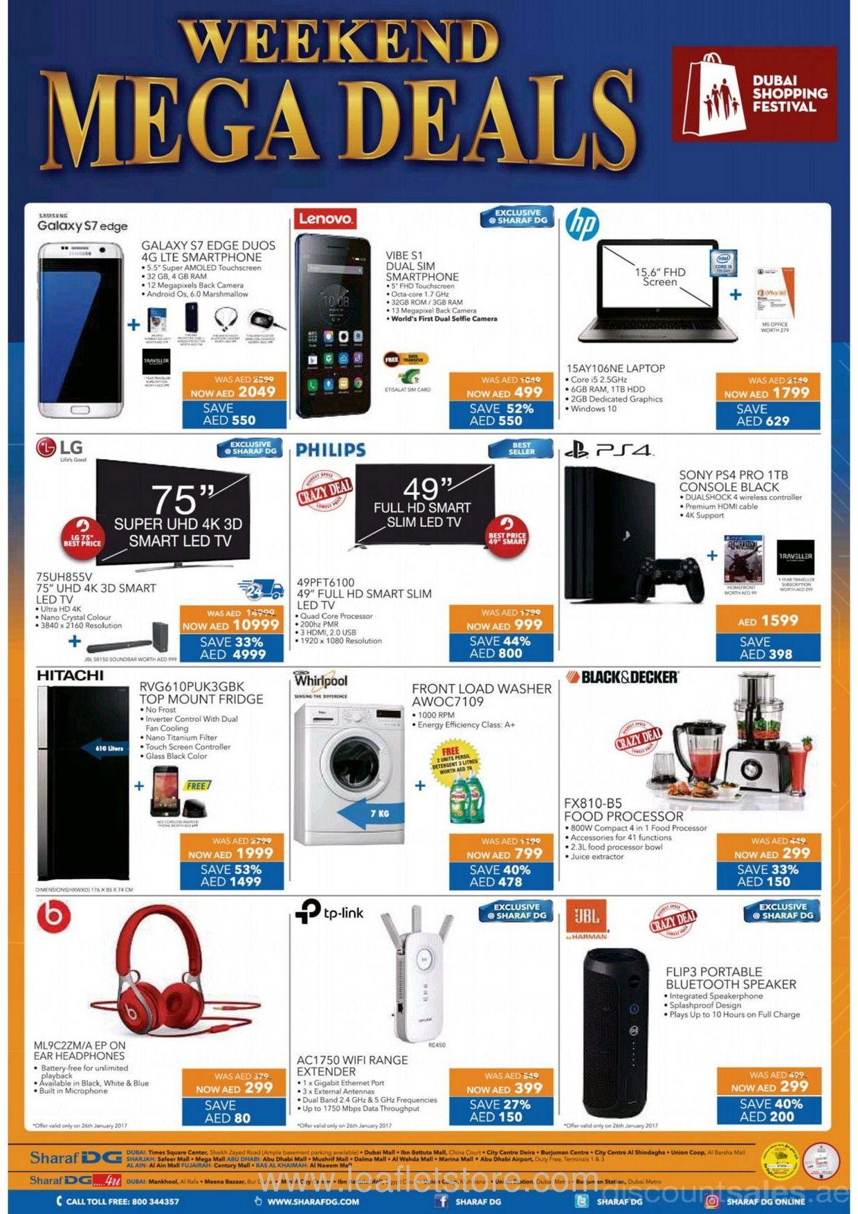 Weekend Mega Deals Offer at Sharaf DG | Discount Sales in UAE
