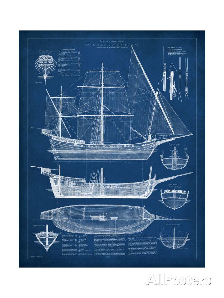 Racing Schooner Yacht Atlantic 1905 Blueprint Plan Boating and - fresh architecture blueprint posters