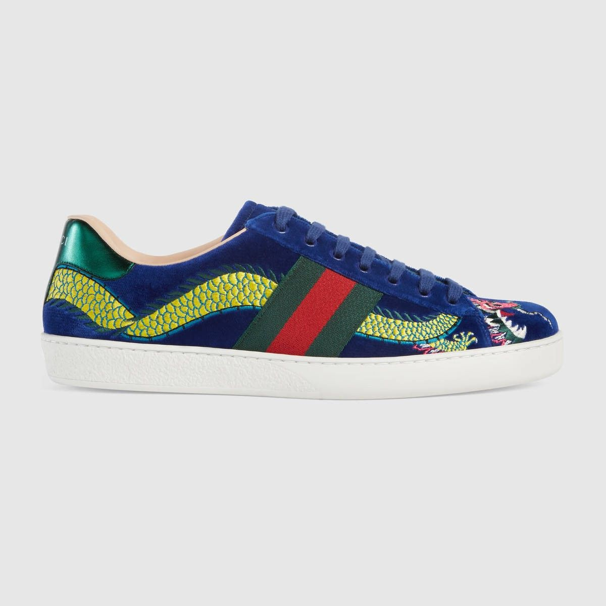 dc792622c7ee GUCCI Ace Embroidered Sneaker - Blue Velvet.  gucci  shoes  all ...