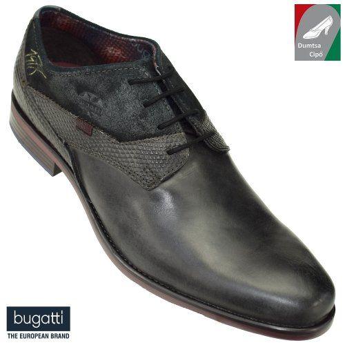 Bugatti férfi bőr cipő 311-16304-2514-1110 sötétszürke fekete ... 91f10308af