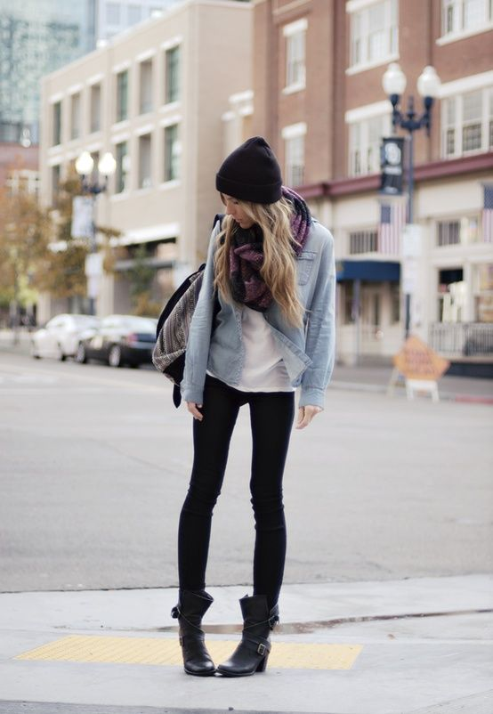 Denim Button Up Shirt, White Tee, Black Leggings And A Chunky Scarf - Click for More...