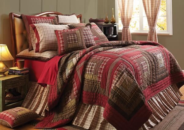 """Log Cabin Block Pattern Quilt - """"Tacoma"""" - QUEEN Size Log Cabin Block Pattern Quilt & 4 Curtain Panels 84""""Lx40""""W"""