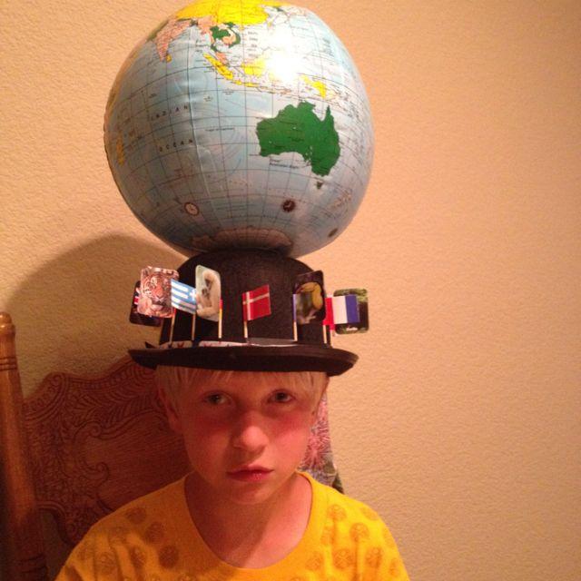 "Crazy Hat Contest: 2d Grade Crazy Hat Day. Theme -- ""continent""."