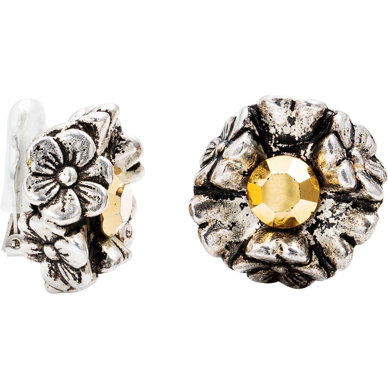 Dabby Reid 14k Gold White Crystal Florette Antique Clip Earrings Stone Color