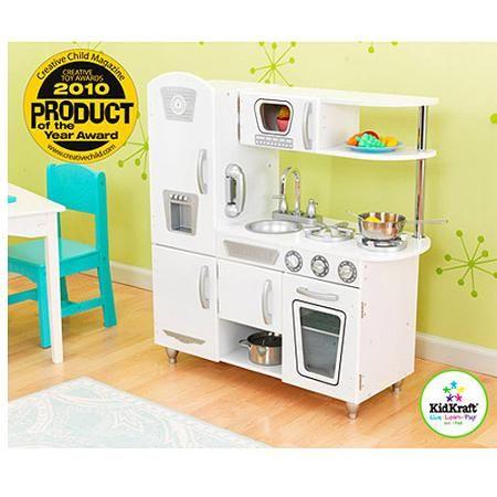 Kidkraft Vintage Play Kitchen White Walmart Com In 2021 Kidkraft Vintage Kitchen Wooden Play Kitchen Play Kitchen Sets