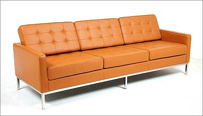 Florence Knoll Sofa Reproduction In Golden Tan Premium Leather