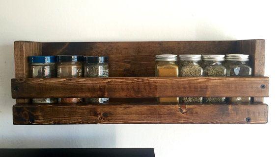 Kitchen Wall Mounted Spice Rack One Shelf Spice Organizer Rustic