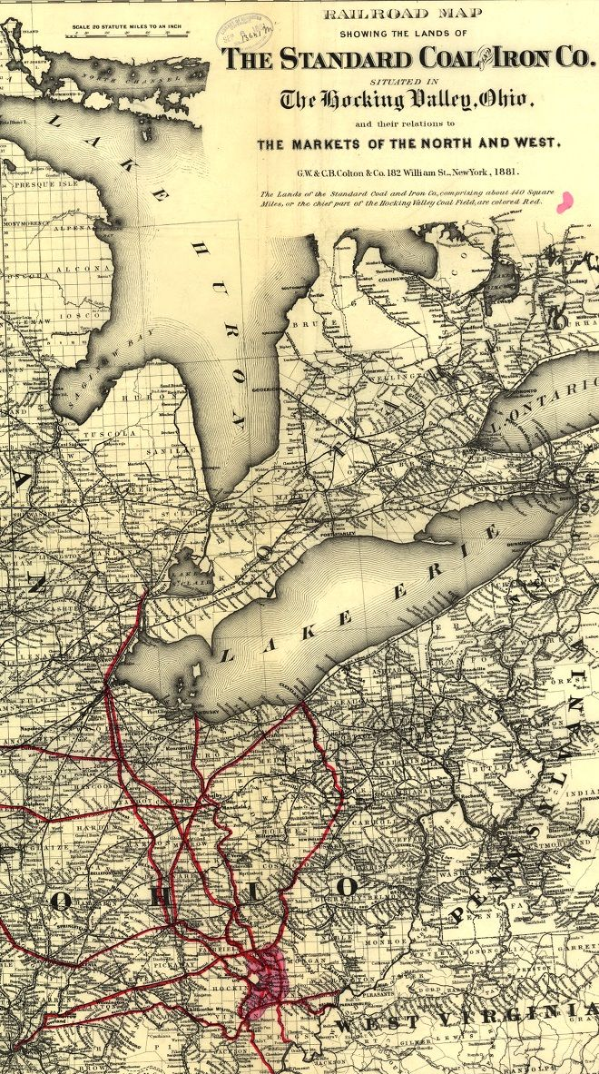 #Railroad map showing the lands of the Standard Coal and Iron Co. situated in the Hocking Valley, Ohio, and their relation to the markets of the north and west in 1881.    Detailed map of the north-central and Great Lakes region showing drainage, cities and towns, township and county boundaries, coal fields, names of railroads, and the railroad network.    Scale 1:1,267,200    Deeply Zoomable Version: http://zoom.it/XXBr