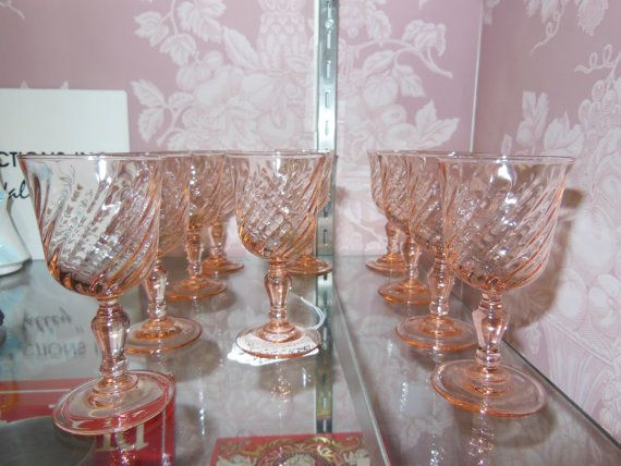 Vintage Pink Crystal Glass Set Of 10 Pcs Made In France Beautiful Pink Color French Shot Small Wine Glasses On Crystal Glass Set Small Wine Glasses Glass Set