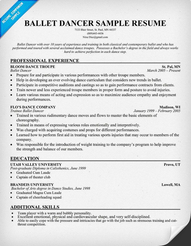Dance Resume Examples Dancer Resumes With Education  Httptopresumedancer