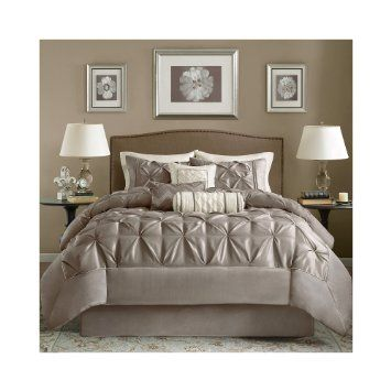 Madison Park Laurel 7Piece Comforter Set  Mushroom  Queen Brilliant Aaron Bedroom Set Decorating Inspiration
