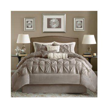 Madison Park Laurel 7Piece Comforter Set  Mushroom  Queen Brilliant Aaron Bedroom Set Decorating Inspiration