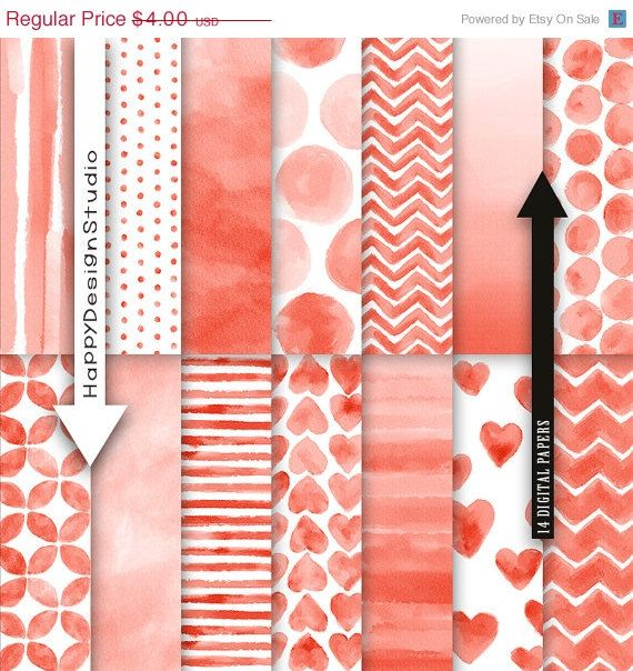 50% OFF SALE Red watercolor digital paper by HappyDesignStudio