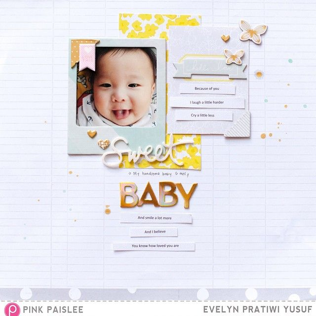 My baby layout using @pinkpaislee Citrus Bliss for NSD2015 inspiration blog hop. #ppCitrusBliss #pinkpaislee