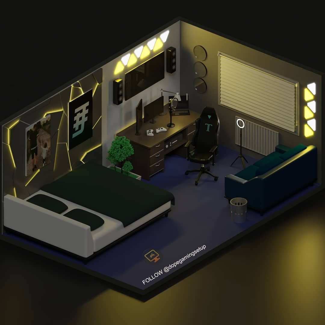 Gaming Setups 3d Models On Instagram Our Client Hashtagjorddofficial Wants His Room To Bedroom Setup Game Room Design Gaming Room Setup