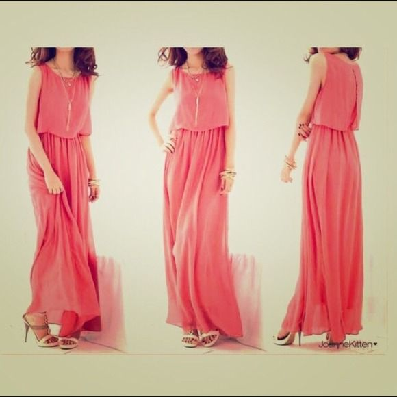Peach maxi Like new!! I wear size s (4) and it fits great!(: Dresses