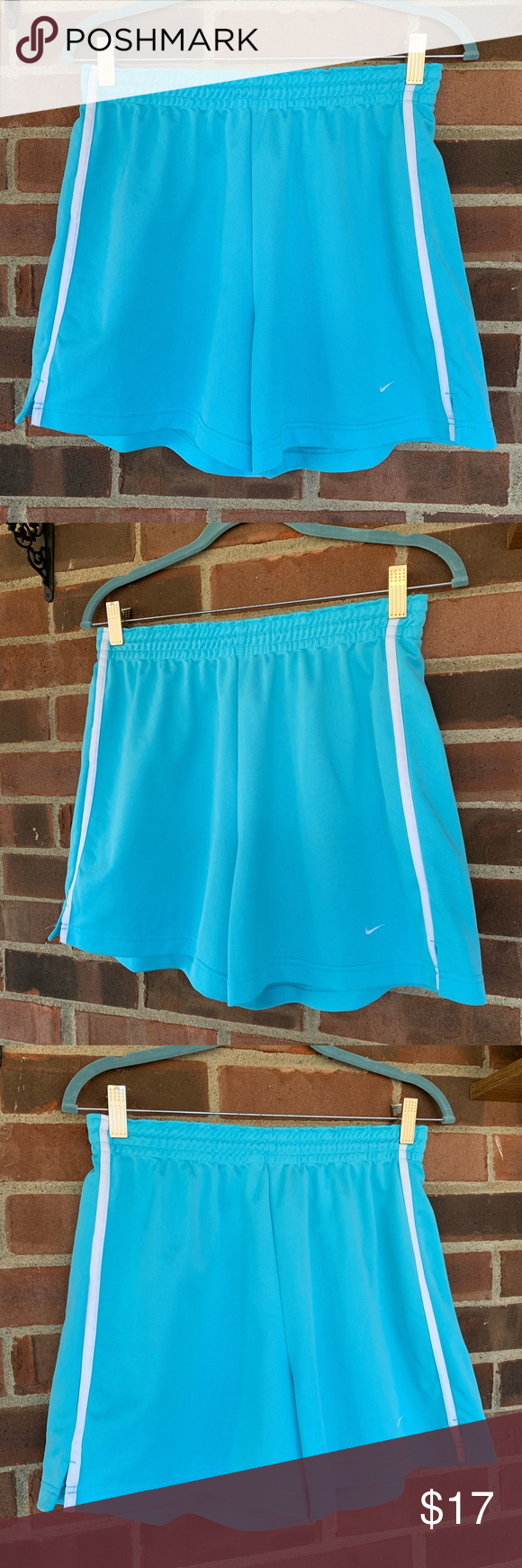 "Nike light blue shorts Nike light blue shorts, Sz M.  In great condition.  Elastic waist   15"" out seam approximately   Smoke and pet free home, fast shipping.  0106 B29 Nike Shorts #lightblueshorts"