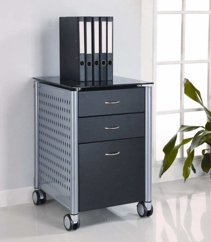 Glass Top Rolling File Cabinet Large Letter File Drawer Storage Casters  Decor