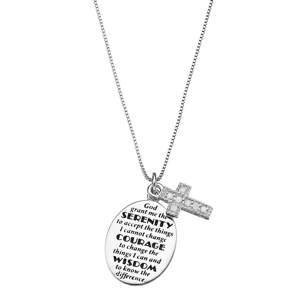 Charmed by diamonds 110 carat tw diamond sterling silver charmed by diamonds 110 carat tw diamond sterling silver serenity prayer disc pendant necklace mozeypictures Images