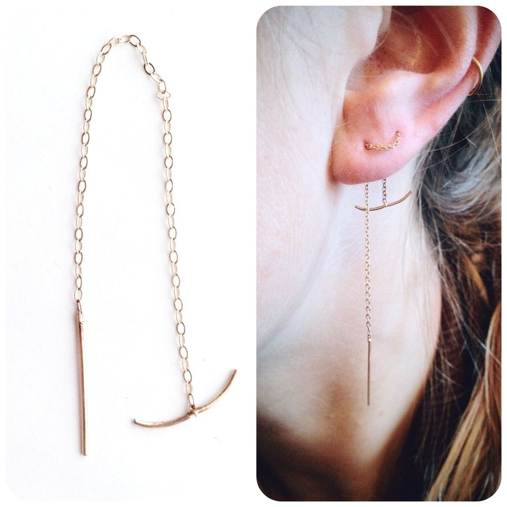 Thread Through Ear Chain Earrings Dangle