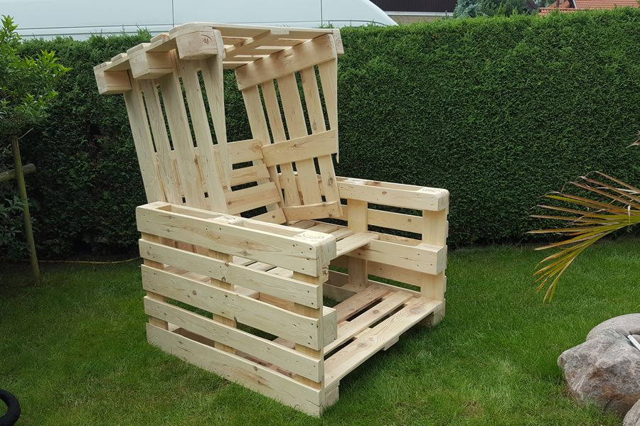 Strandkorb aus Paletten für den Strand oder Ihren Garten - Scholz Holzdesign #sofaauspalletten