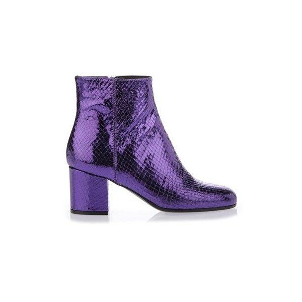 55ac3d3a4 PARIS TEXAS Metallic Purple Ankle Booties (6